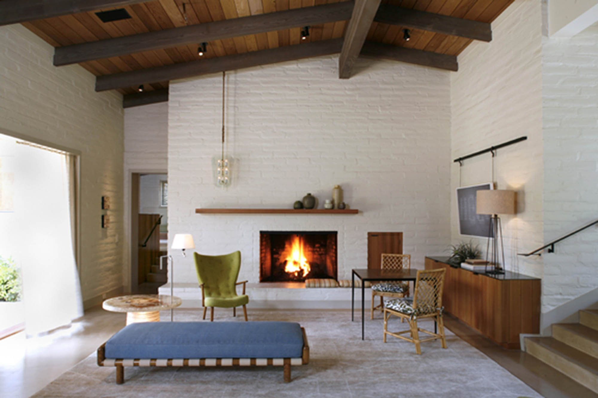 Mid Century Modern Fireplaces mid-century modern renovation fireplace - stephen willrich design